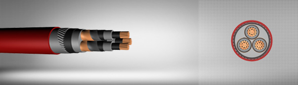 12/20 kV or 12.7/22kV XLPE insulated flat steel wire armoured, three core cables with copper conductor